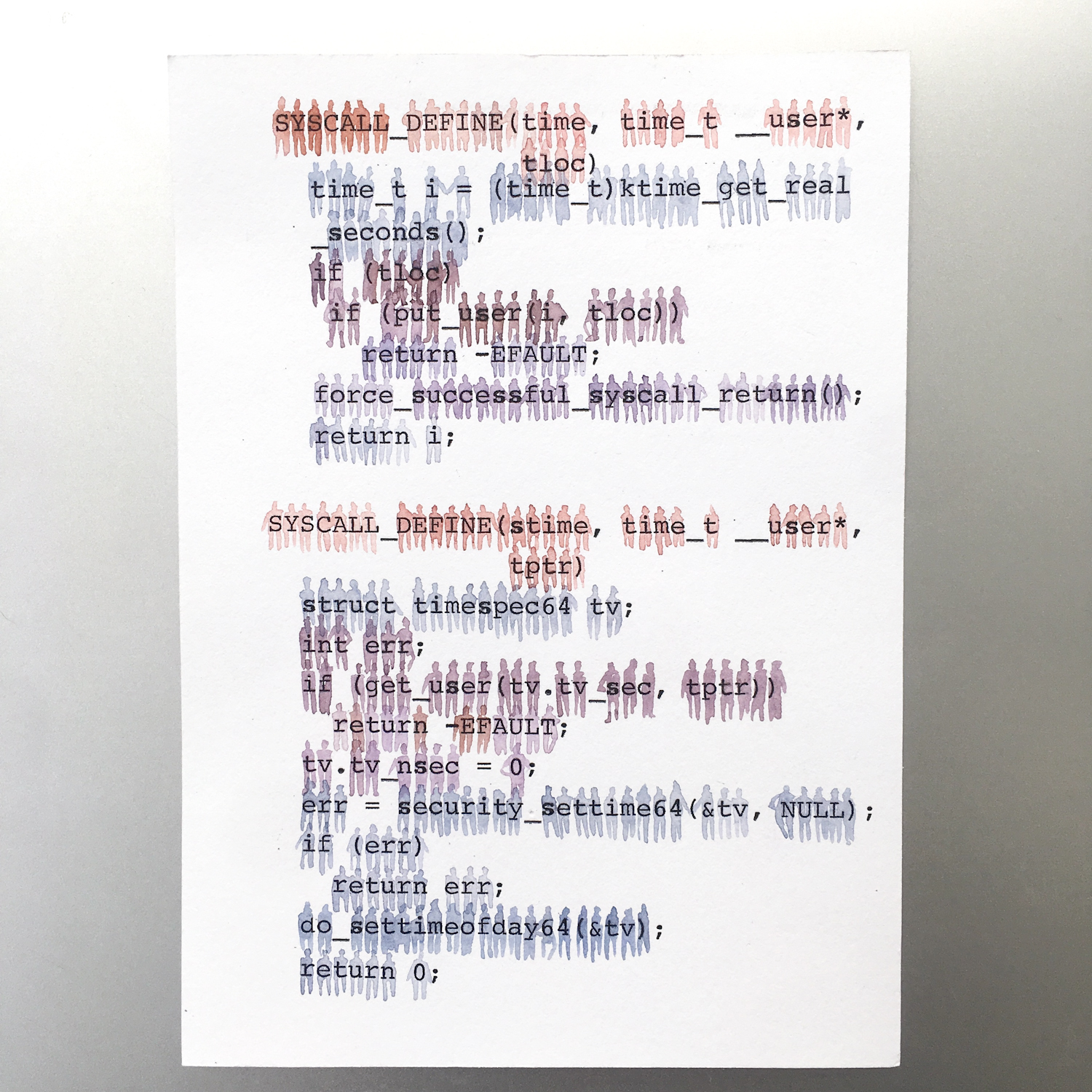 Watercolor and typewriter text on paper. Each color represents a different contributor to the file, which is time.c from the Linux kernel.