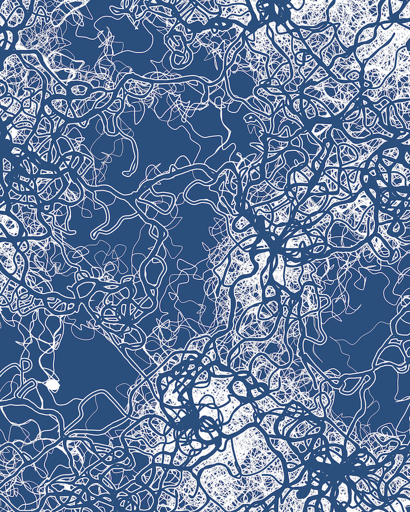 An abstract image created by simulating the movement of an ant colony.
